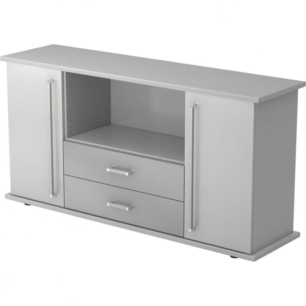 Armoire basse de bureau Lilly III / Gris / Poignée droite en métal