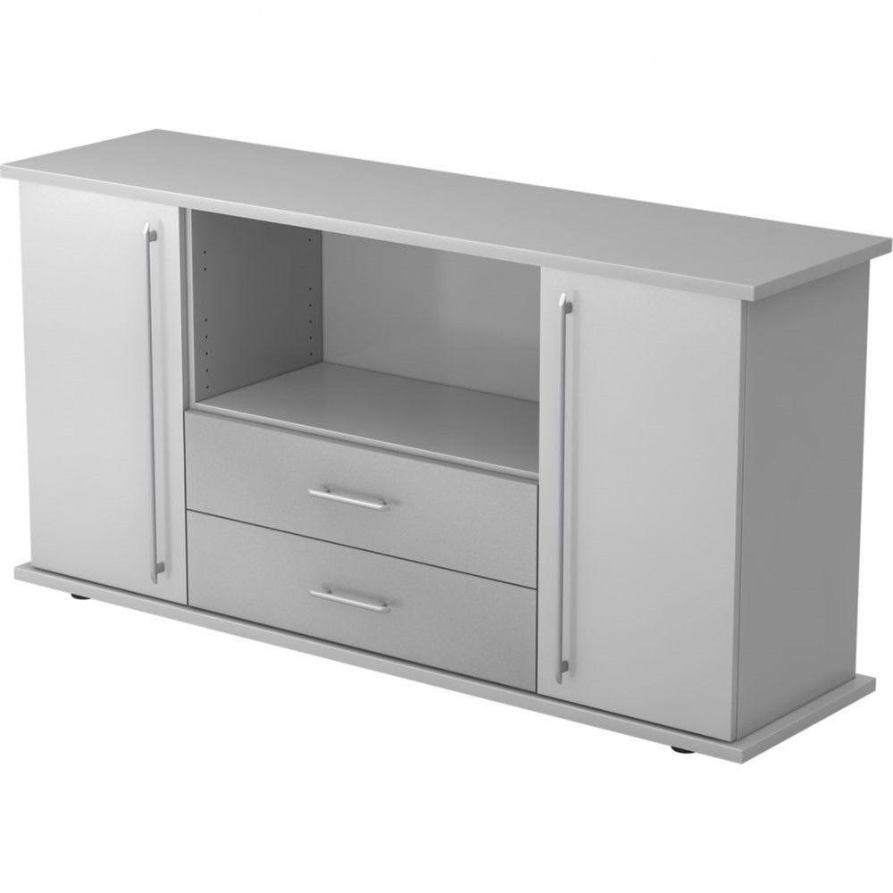 Armoire basse de bureau Lilly III / Gris / Poignée droite en plastique