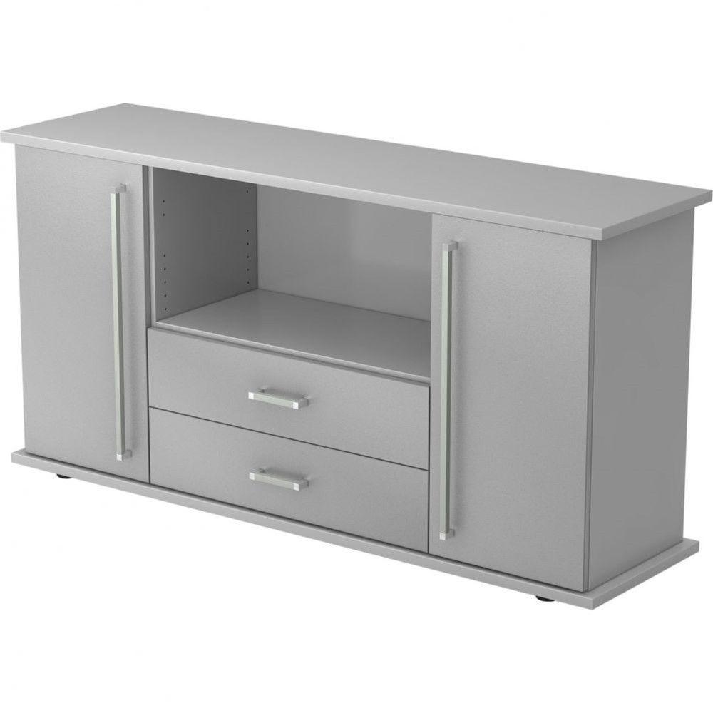 Armoire basse de bureau Lilly III / Gris / Argenté / Poignée droite en métal