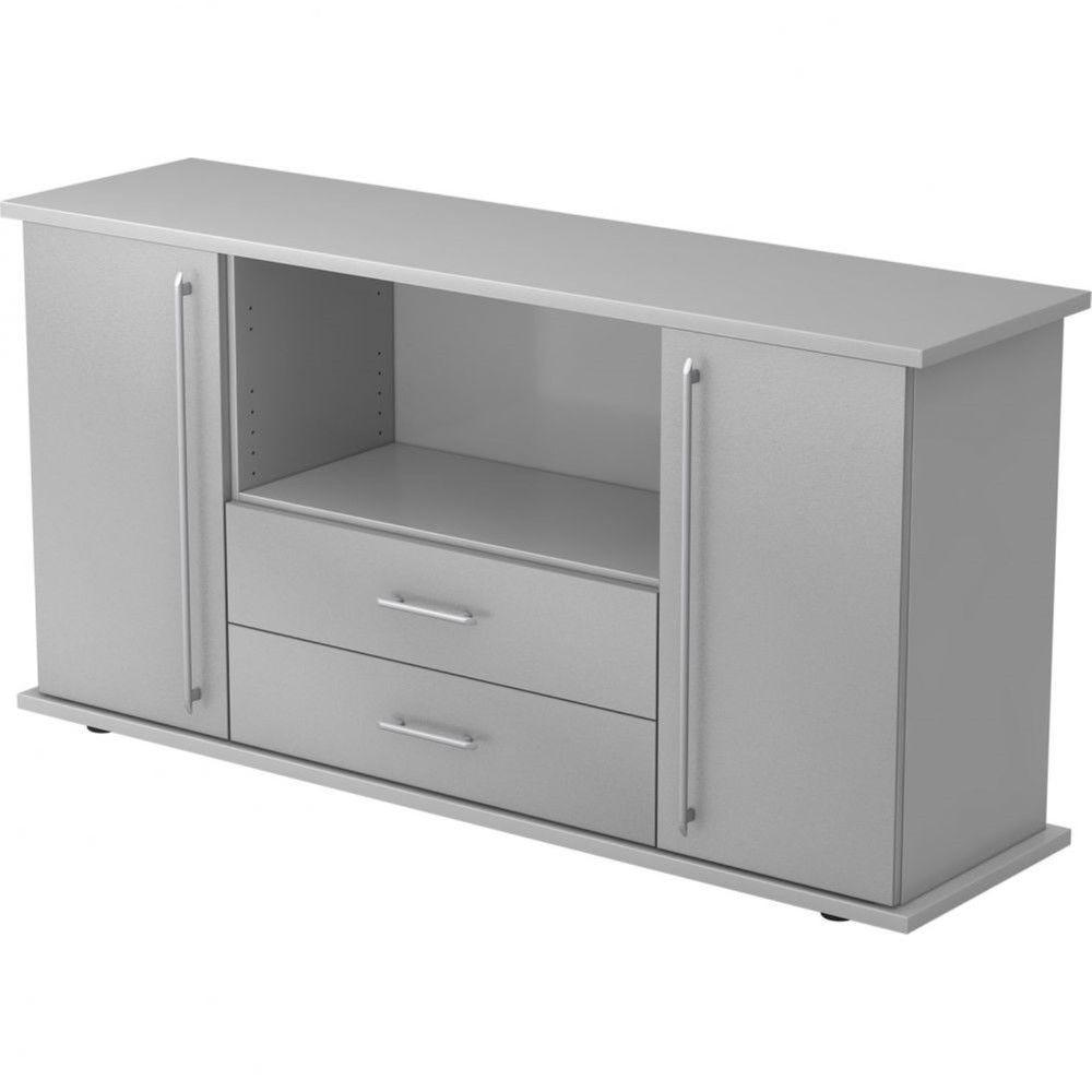 Armoire basse de bureau Lilly III / Gris / Argenté / Poignée droite en plastique