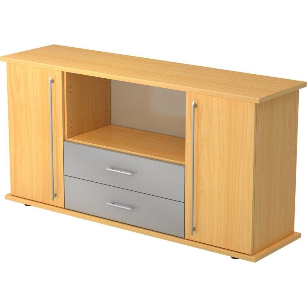 Armoire basse de bureau Lilly III / Hêtre / Poignée droite en plastique