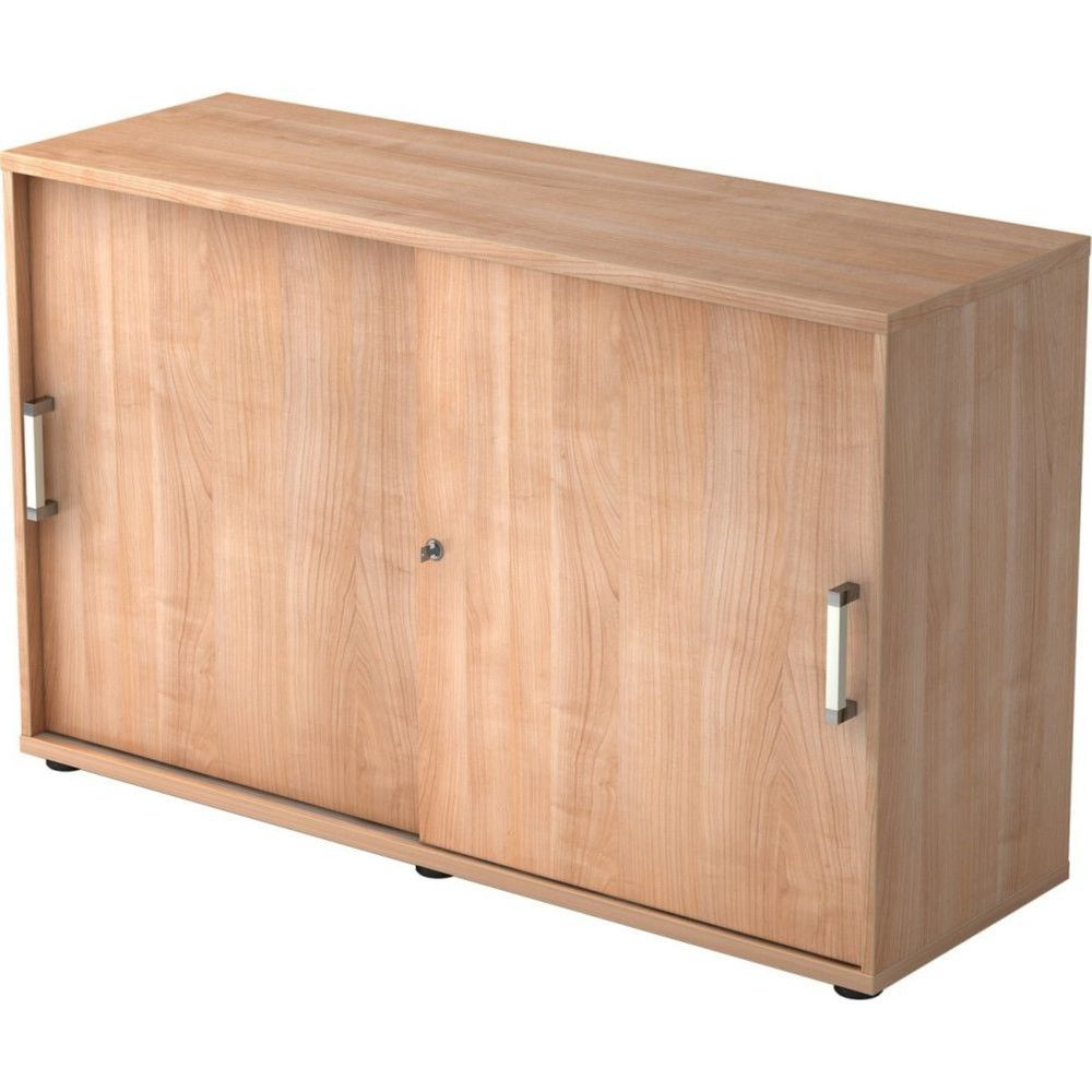 Armoire de bureau Erika I / Noyer / Hauteur 75 cm / Poignée droite en métal