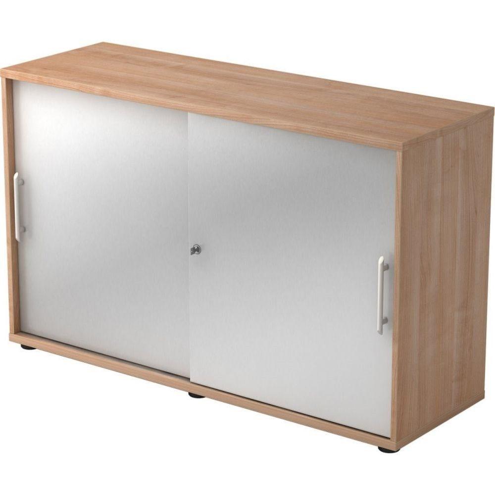 Armoire de bureau Erika I Noyer Argenté Hauteur 75 cm Poignée droite plastique