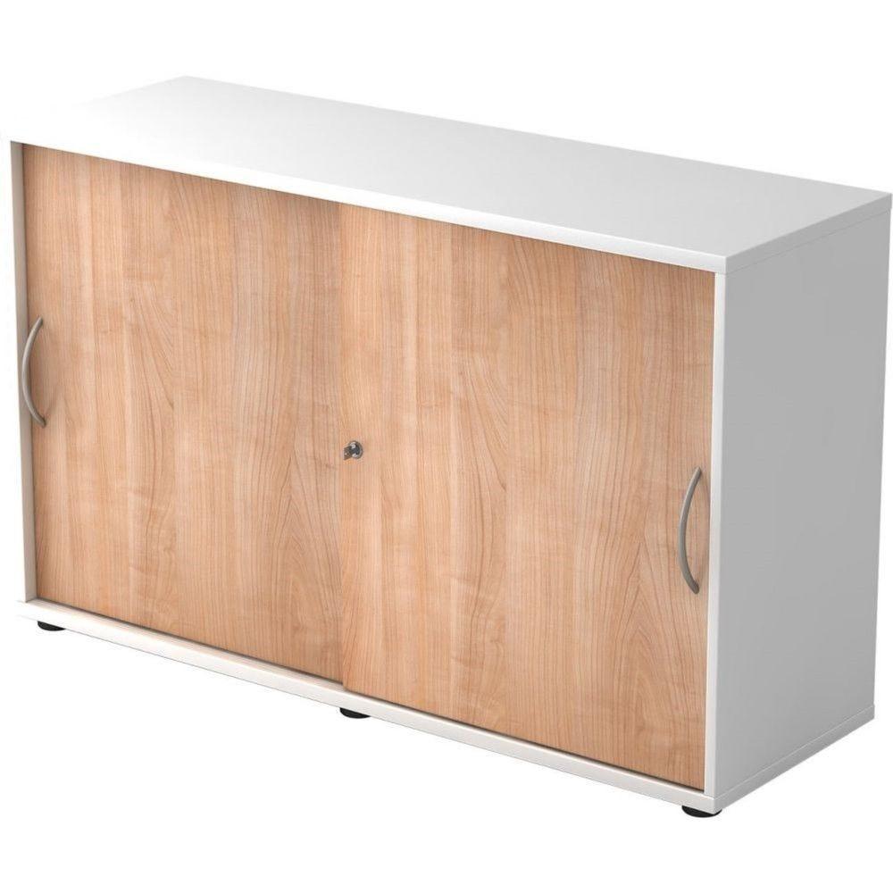 Armoire de bureau Erika I Noyer Blanc Hauteur 75 cm Poignée courbée en métal
