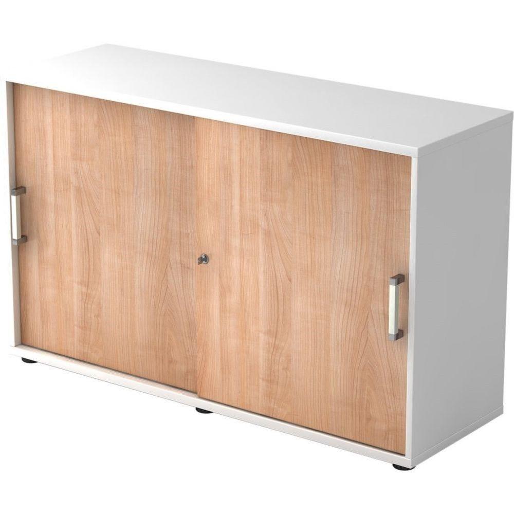 Armoire de bureau Erika I Noyer Blanc Hauteur 75 cm Poignée droite en métal
