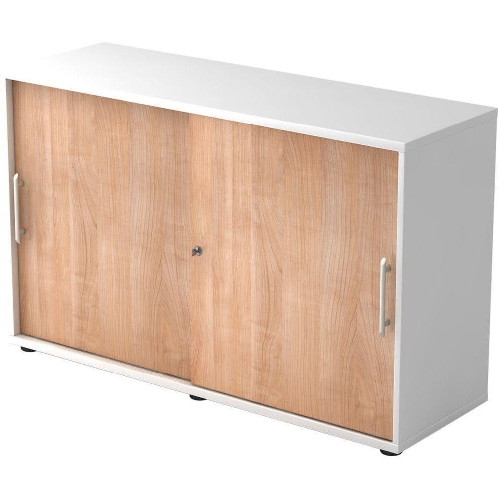Armoire de bureau Erika I Noyer Blanc Hauteur 75 cm Poignée droite en plastique