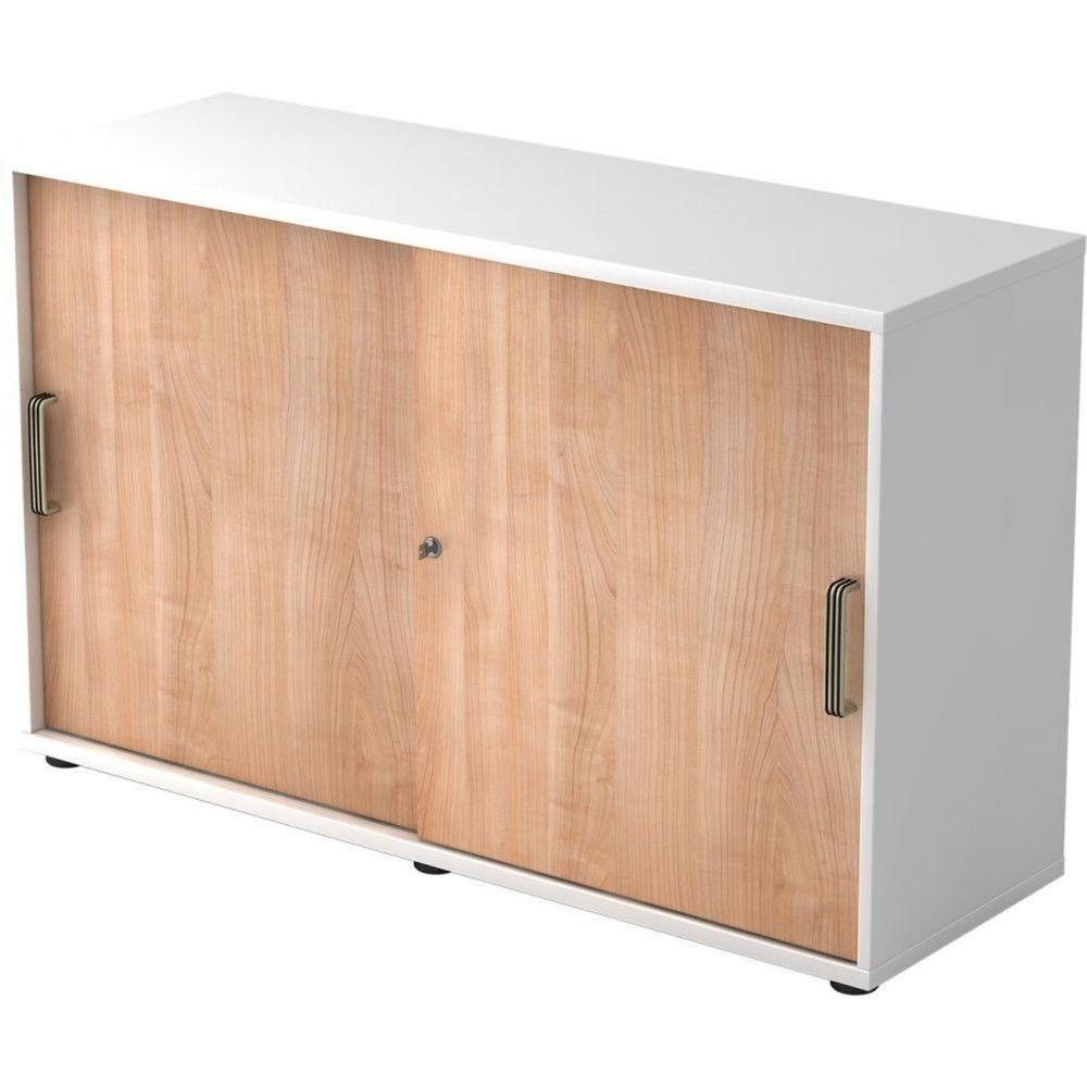 Armoire de bureau Erika I Noyer Blanc Hauteur 75 cm Poignée striée en plastique