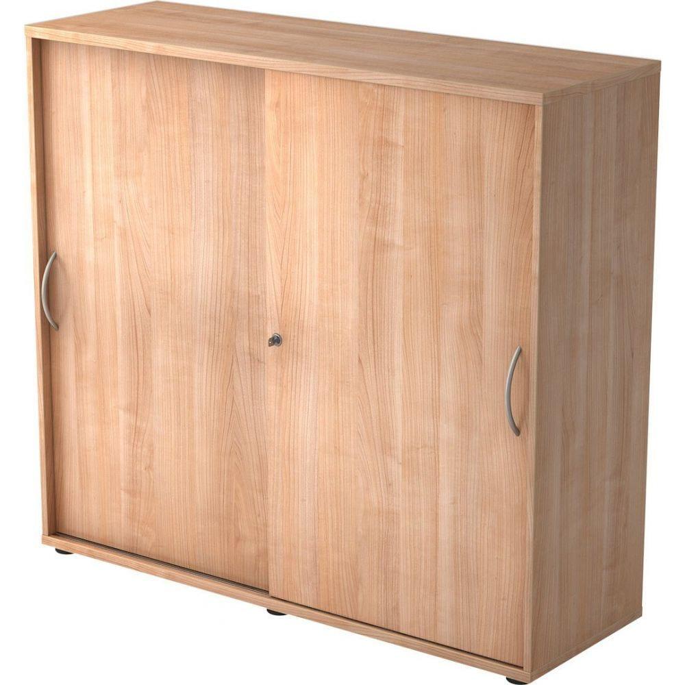 Armoire de bureau Erika I / Noyer / Hauteur 110 cm / Poignée courbée en métal