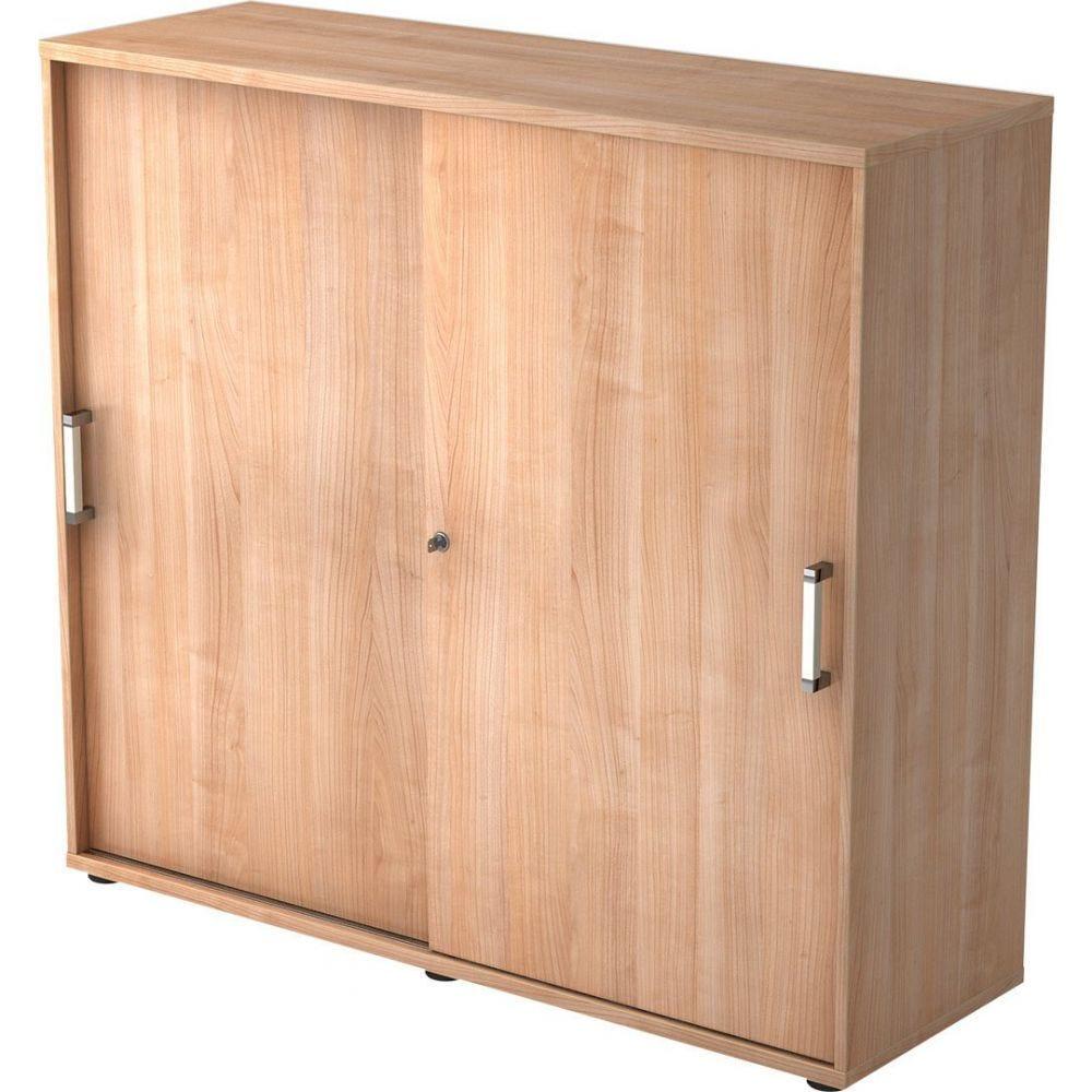 Armoire de bureau Erika I / Noyer / Hauteur 110 cm / Poignée droite en métal