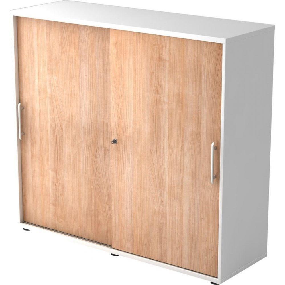 Armoire de bureau Erika I Noyer Blanc Hauteur 110 cm Poignée droite en plastique