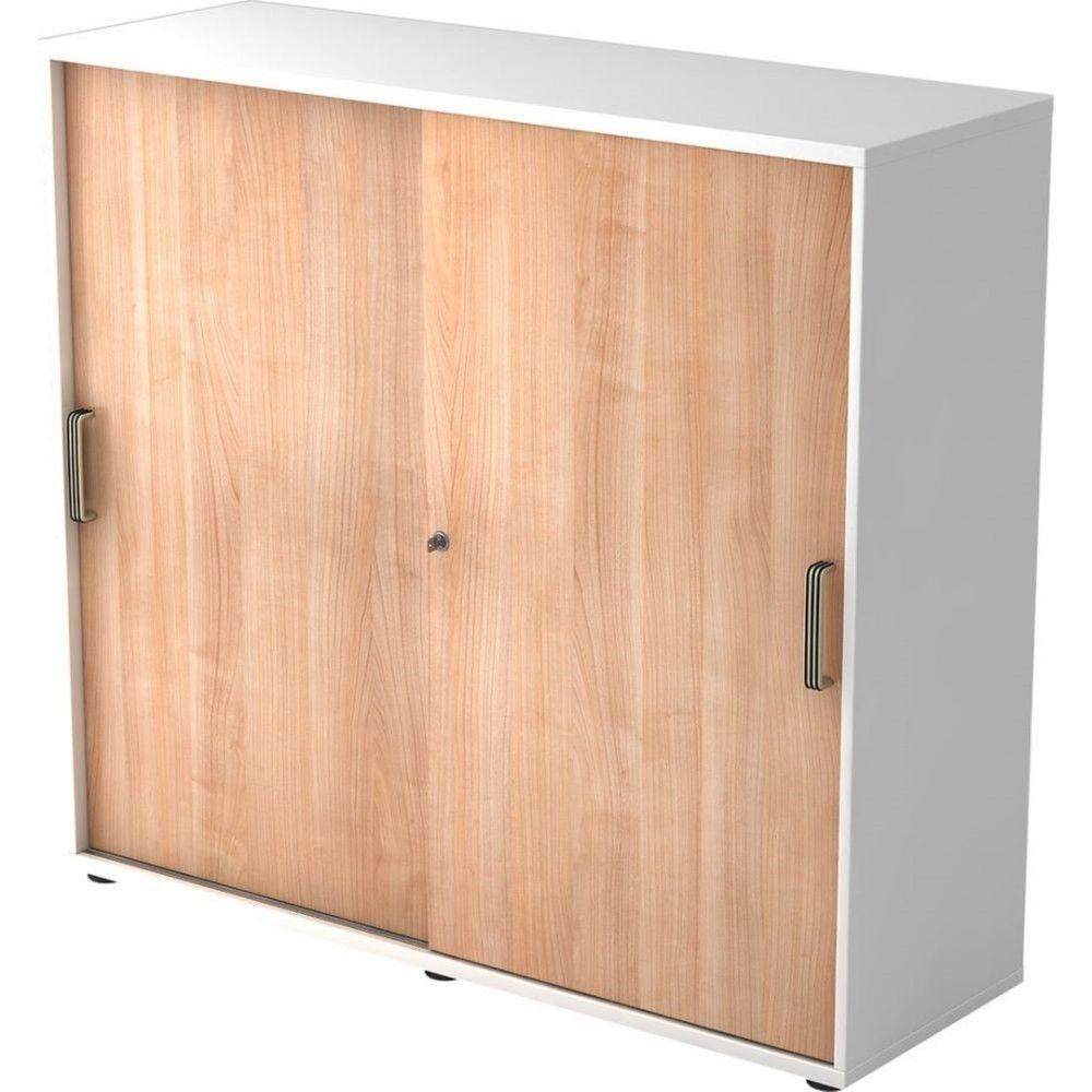 Armoire de bureau Erika I Noyer Blanc Hauteur 110 cm Poignée striée en plastique