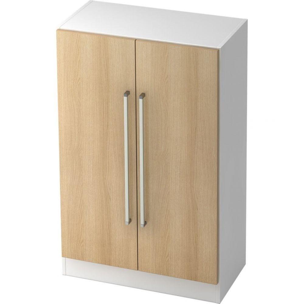 Armoire de bureau contemporaine Rafael / Chêne / Blanc / Poignée droite en métal