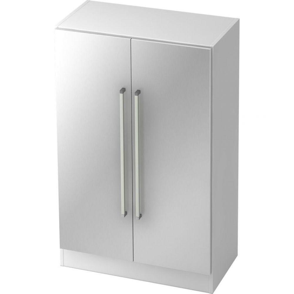 Armoire de bureau contemporaine Rafael Blanc Argenté Poignée droite en métal