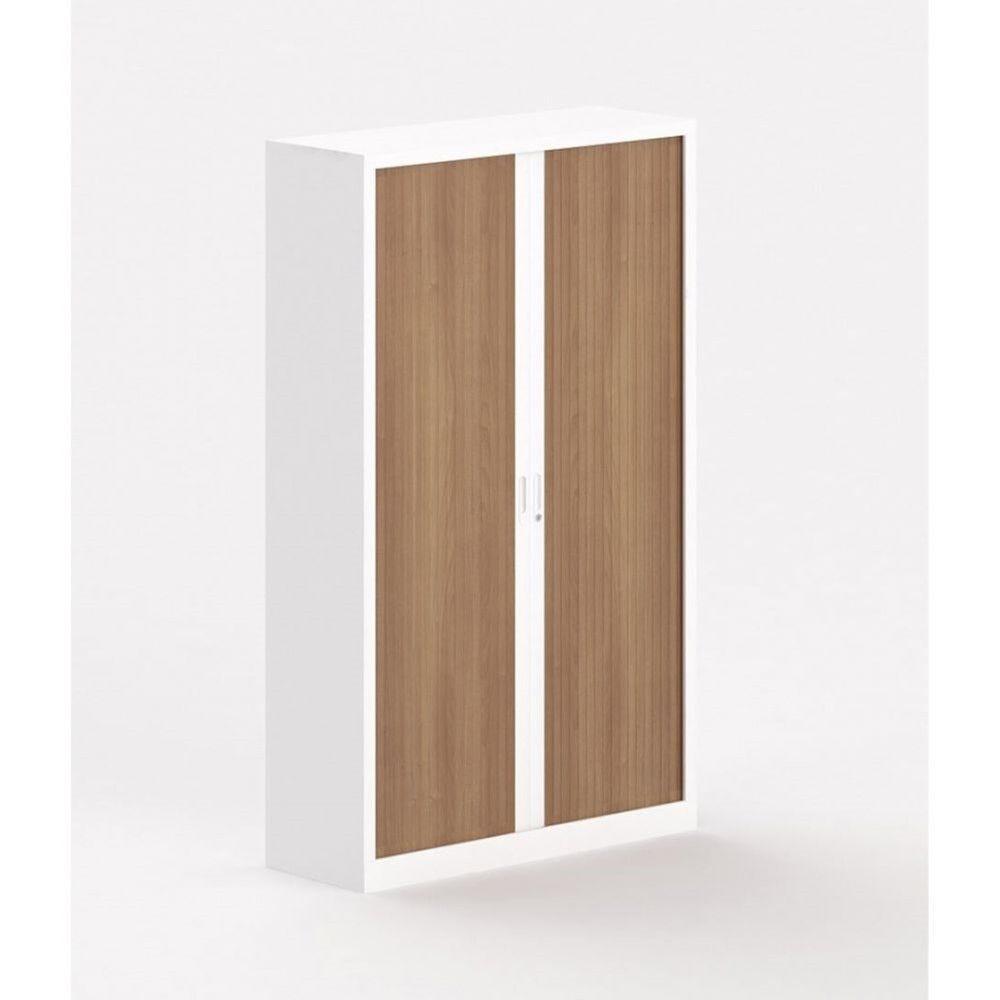 Armoire métallique blanche à portes coulissantes Katerina II / Poirier