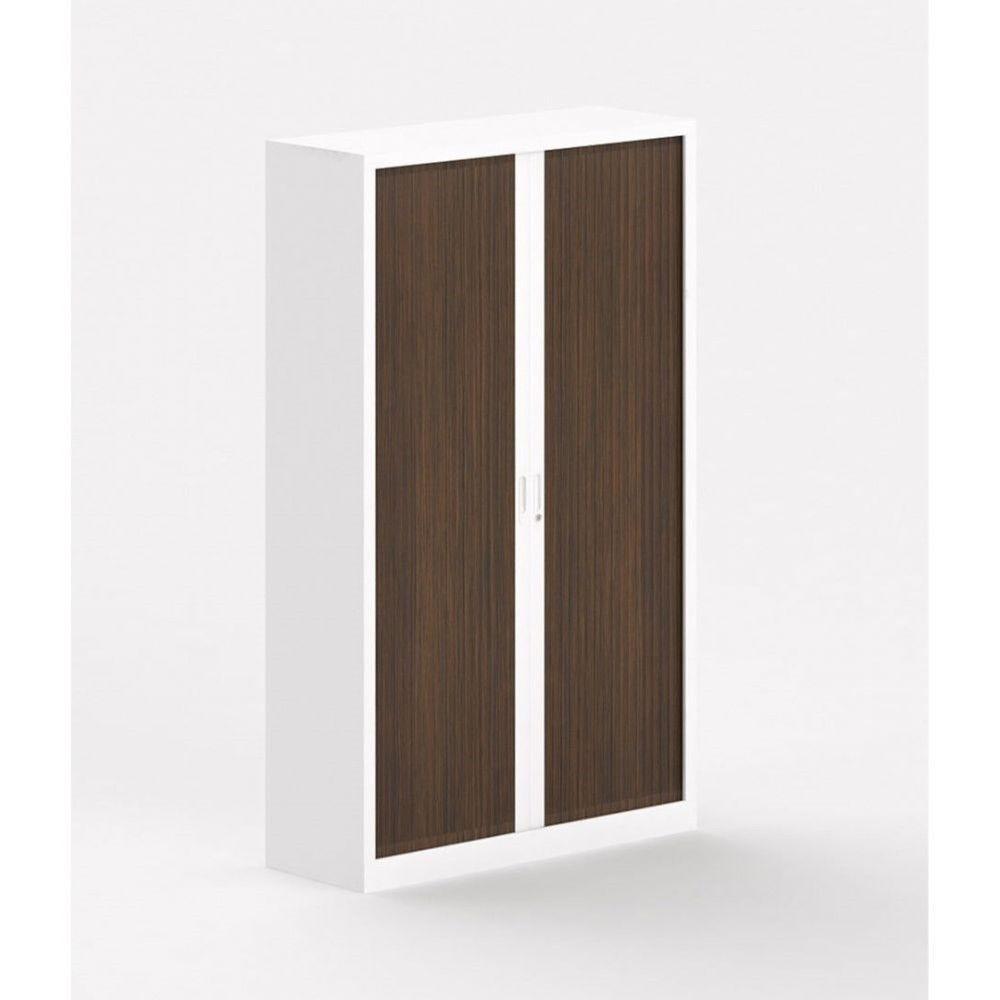 Armoire métallique blanche à portes coulissantes Katerina II / Zebrano