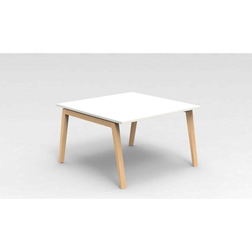 Table de réunion scandinave Erika / Blanc / Longueur 120 cm / Hêtre