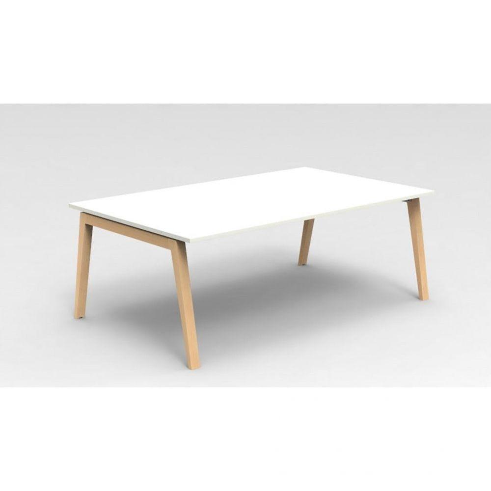 Table de réunion scandinave Erika / Blanc / Longueur 200 cm / Hêtre