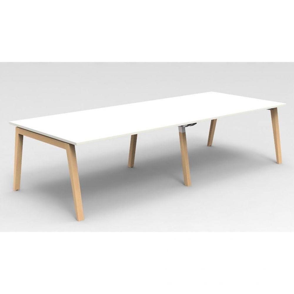 Table de réunion scandinave Erika / Blanc / Longueur 300 cm / Hêtre