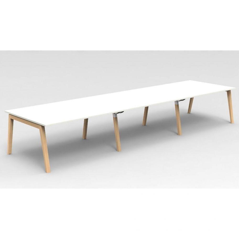 Table de réunion scandinave Erika / Blanc / Longueur 450 cm / Hêtre
