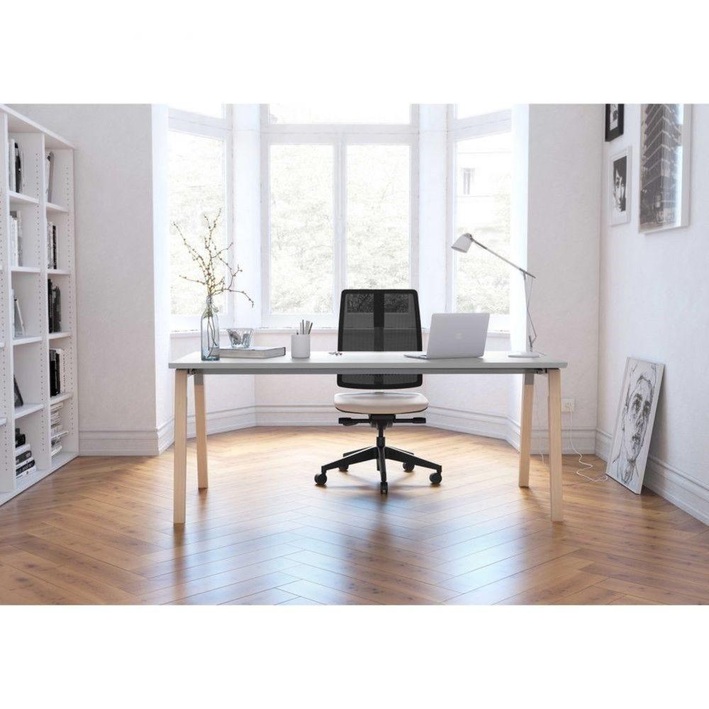 Table de réunion scandinave Erika / Blanc / Longueur 450 cm / Pieds argent/hêtre