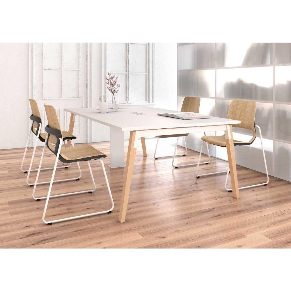 Table de réunion scandinave Erika / Blanc / Longueur 450 cm / Pieds blanc/hêtre