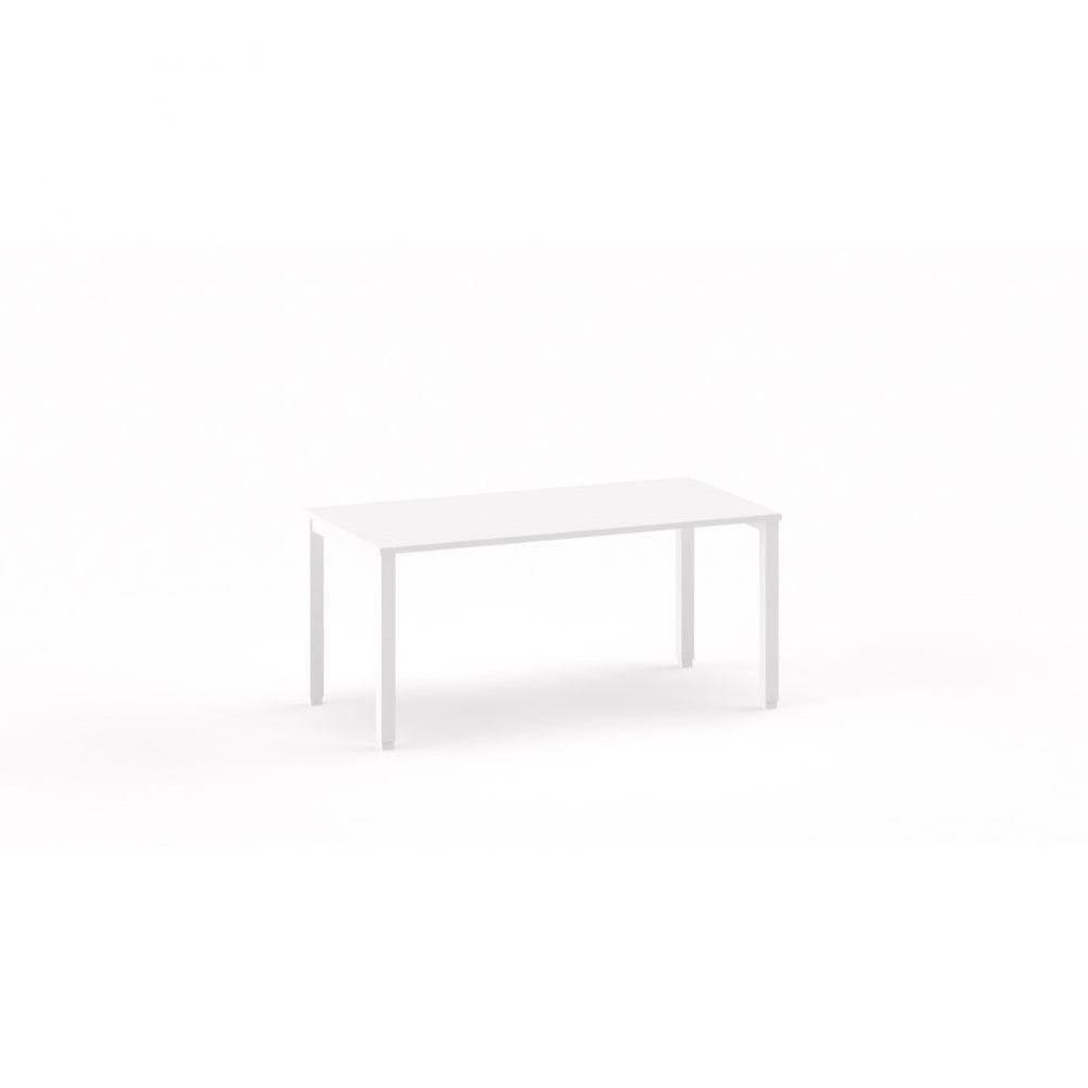 Bureau droit individiuel Mario / Blanc / Longueur 160 cm / Piétement argenté