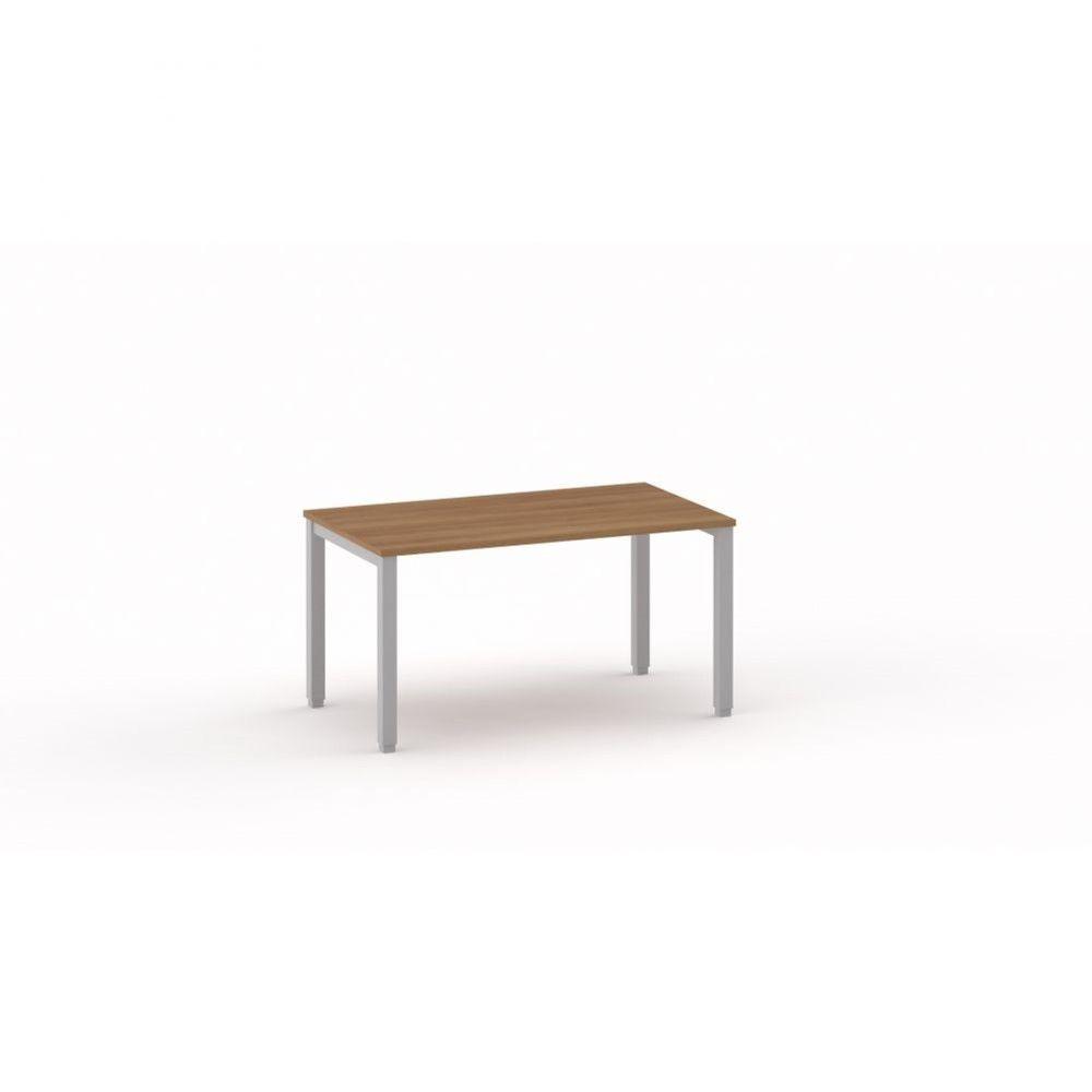 Bureau droit individiuel Mario / Poirier / Longueur 140 cm / Piétement blanc