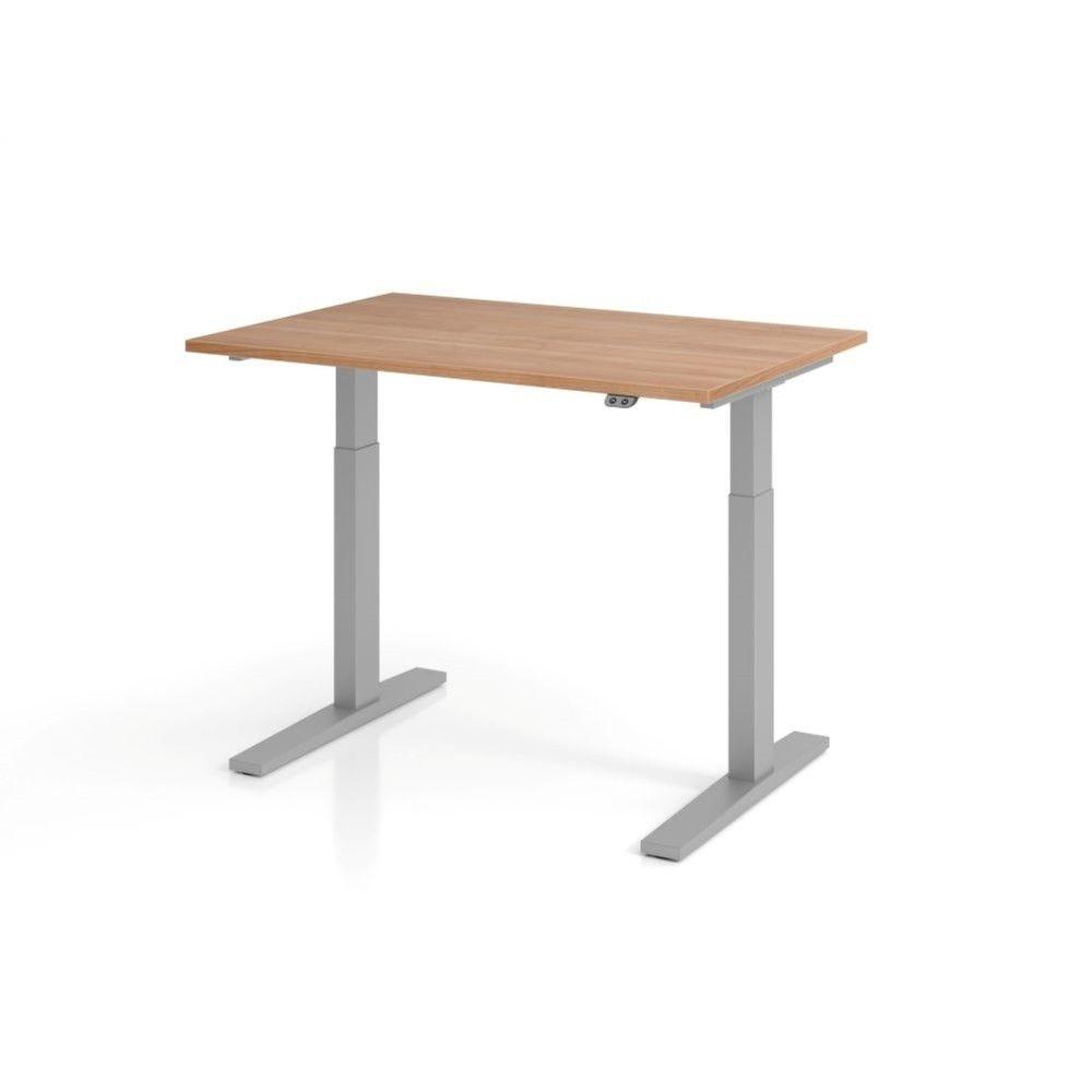 Bureau assis-debout contemporain Ezra / Noyer / Longueur 120 cm / Argenté