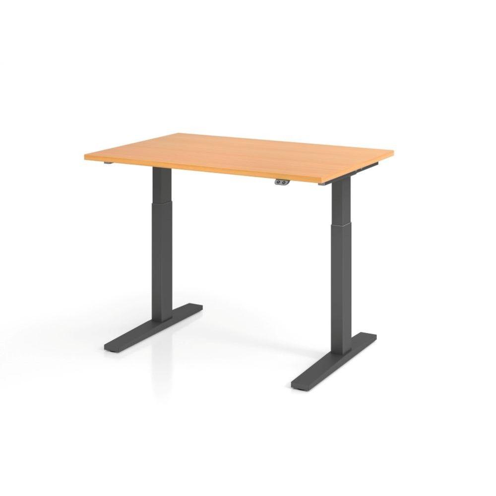 Bureau assis-debout contemporain Ezra / Hêtre / Longueur 120 cm / Graphite