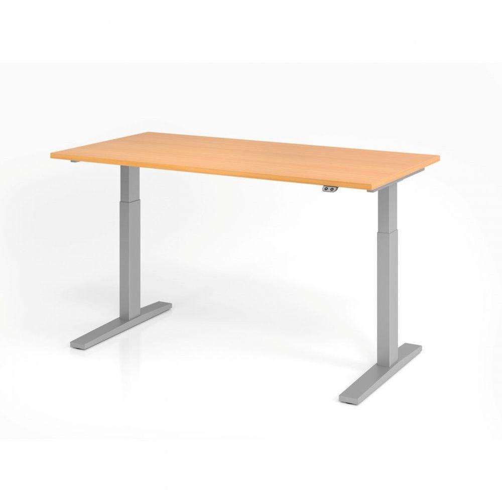 Bureau assis-debout contemporain Ezra / Hêtre / Longueur 160 cm / Argenté