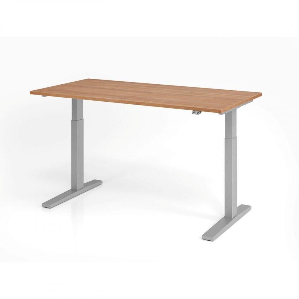Bureau assis-debout contemporain Ezra / Noyer / Longueur 160 cm / Argenté