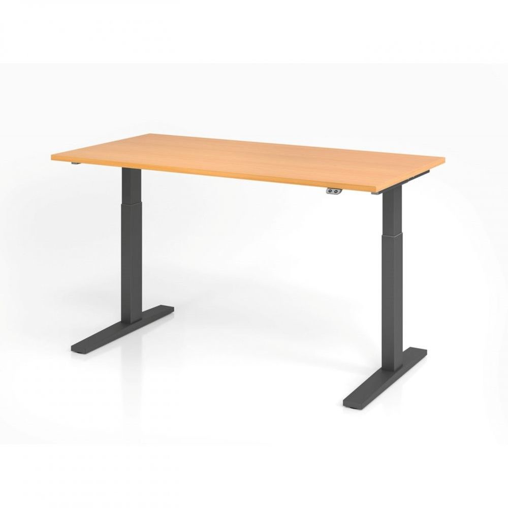 Bureau assis-debout contemporain Ezra / Hêtre / Longueur 160 cm / Graphite