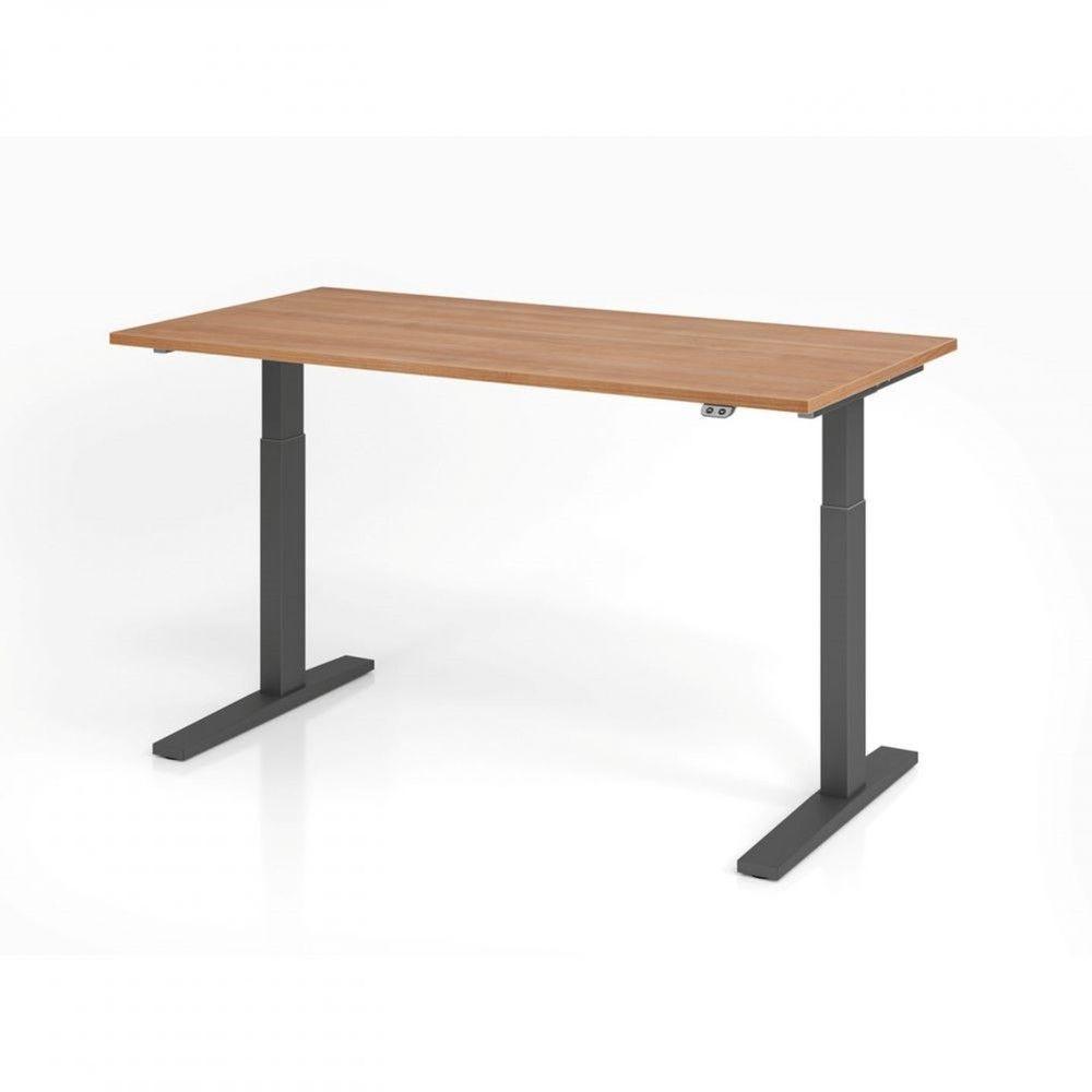 Bureau assis-debout contemporain Ezra / Noyer / Longueur 160 cm / Graphite