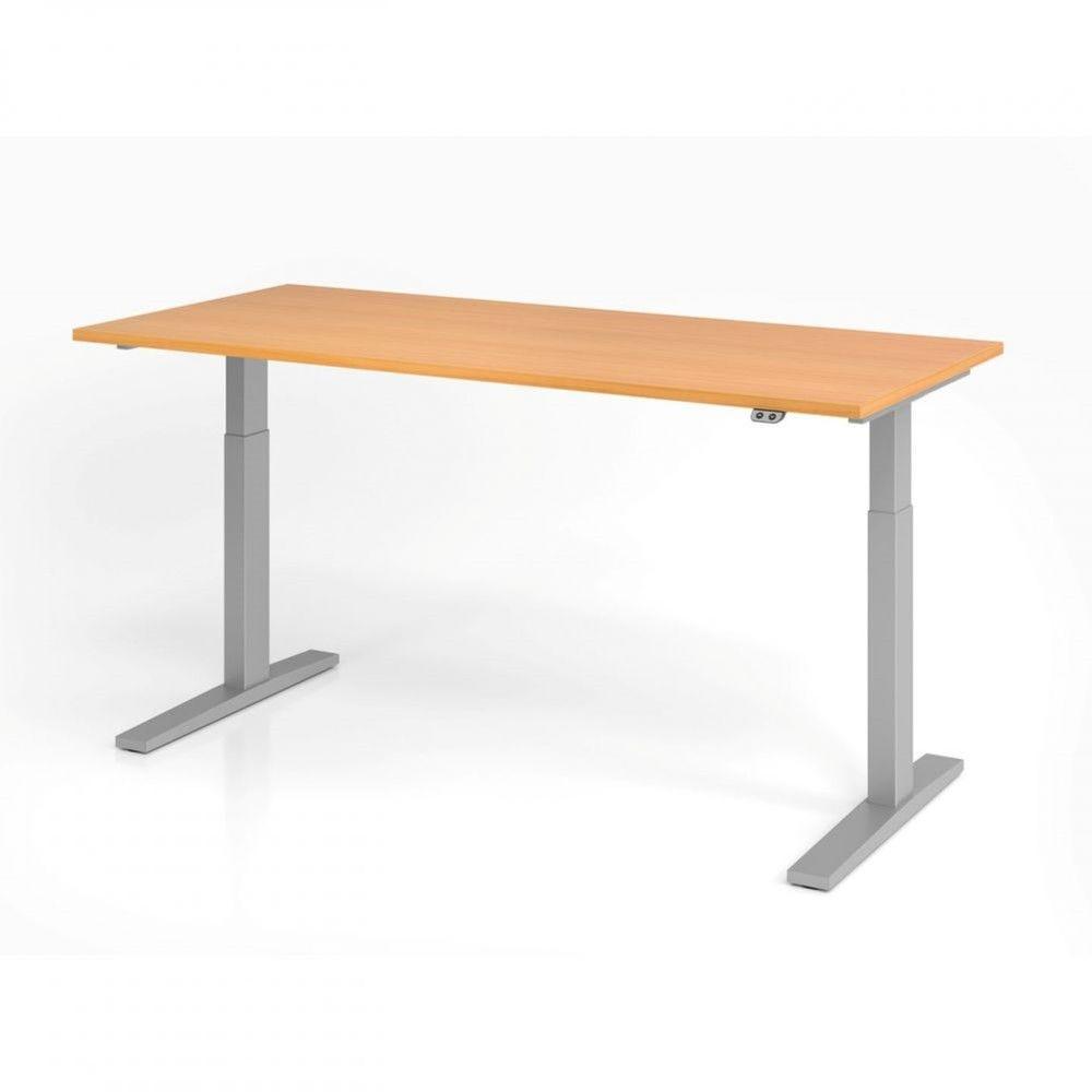 Bureau assis-debout contemporain Ezra / Hêtre / Longueur 180 cm / Argenté