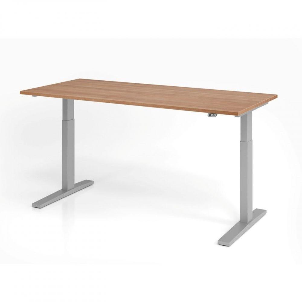 Bureau assis-debout contemporain Ezra / Noyer / Longueur 180 cm / Argenté