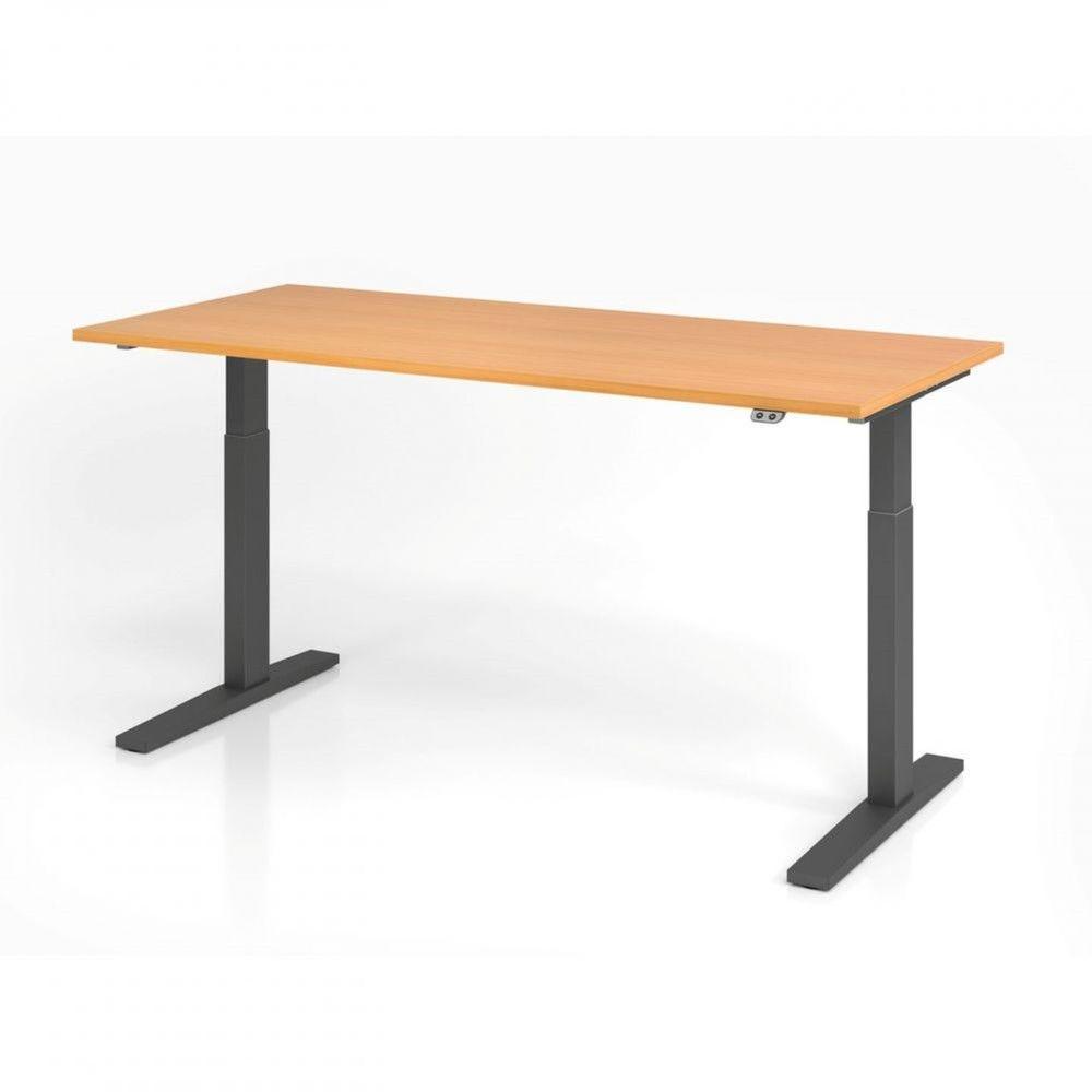 Bureau assis-debout contemporain Ezra / Hêtre / Longueur 180 cm / Graphite