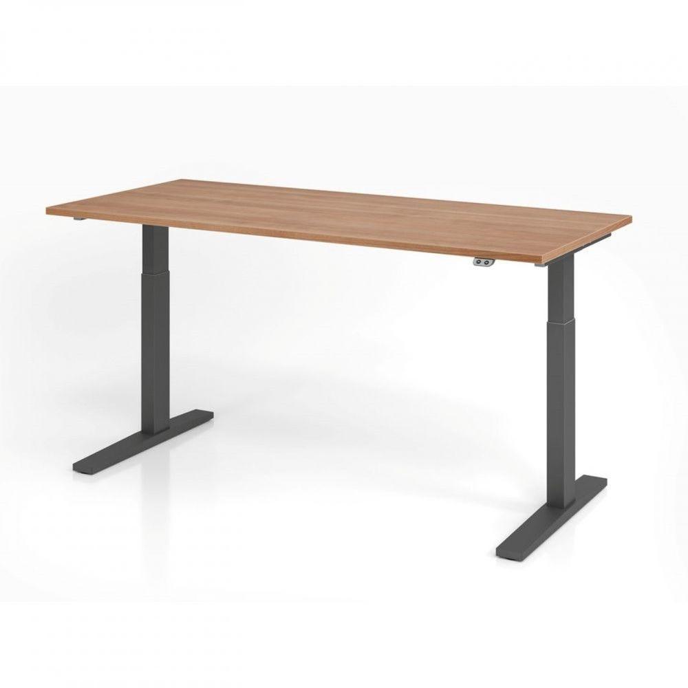 Bureau assis-debout contemporain Ezra / Noyer / Longueur 180 cm / Graphite