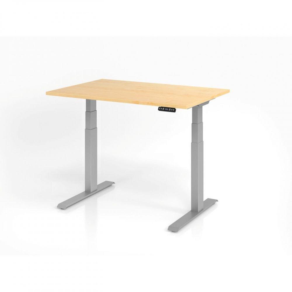 Bureau assis-debout contemporain Jorge / Erable / Longueur 120 cm / Argenté