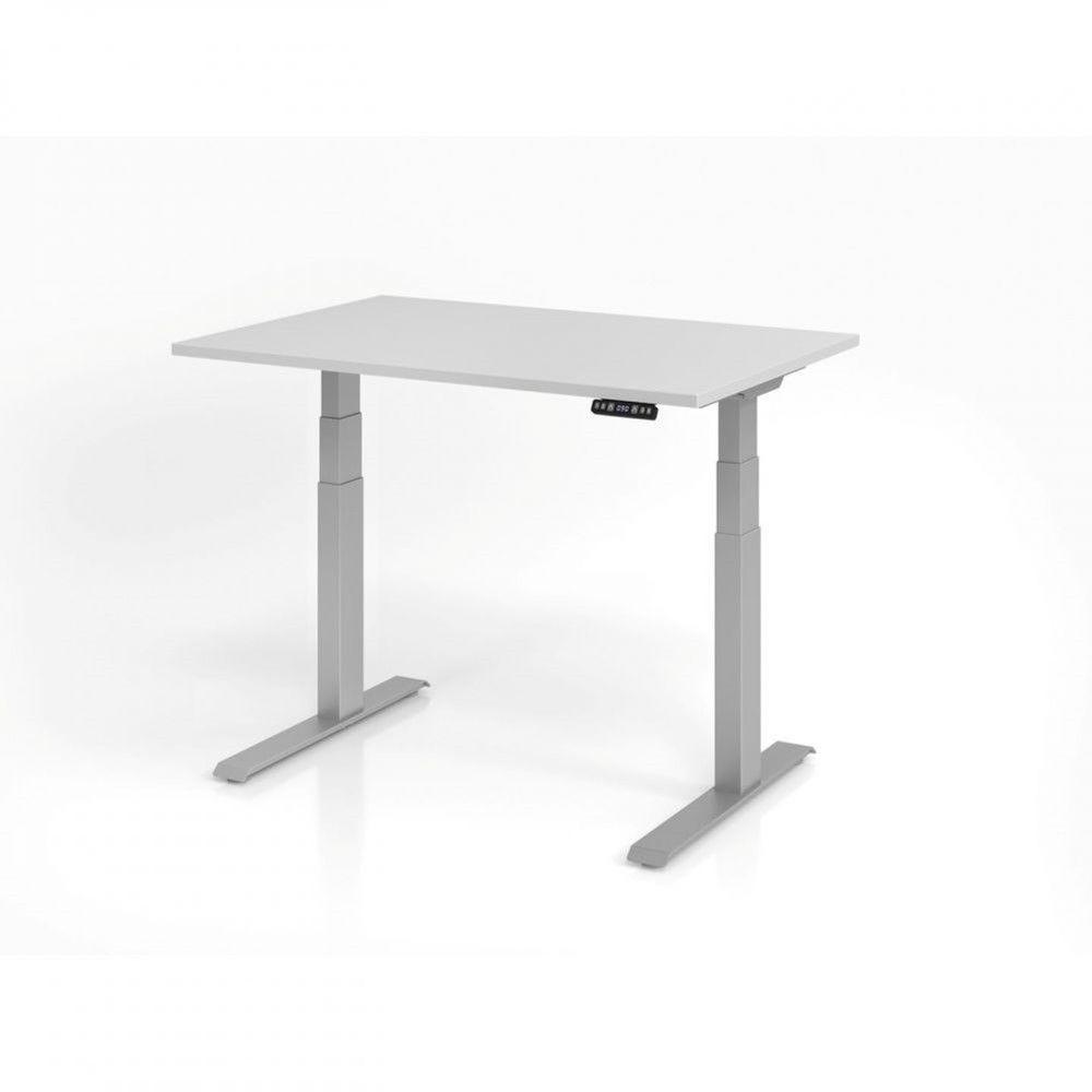Bureau assis-debout contemporain Jorge / Gris / Longueur 120 cm / Argenté
