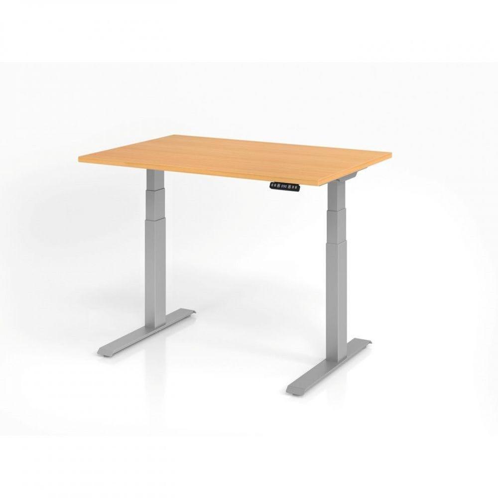 Bureau assis-debout contemporain Jorge / Hêtre / Longueur 120 cm / Argenté