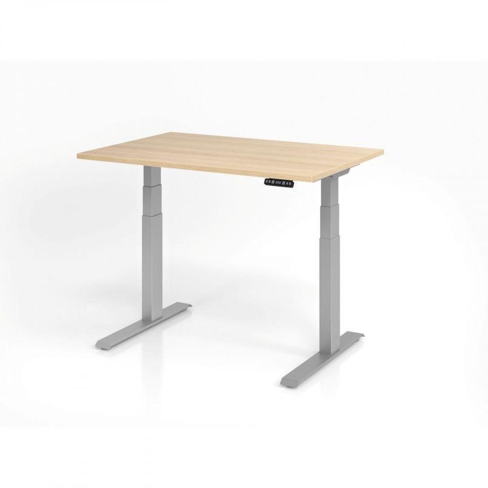 Bureau assis-debout contemporain Jorge / Chêne / Longueur 120 cm / Argenté