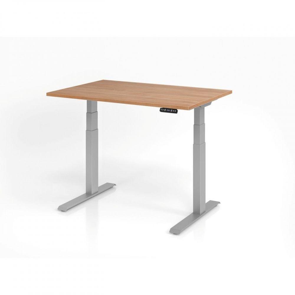 Bureau assis-debout contemporain Jorge / Noyer / Longueur 120 cm / Argenté
