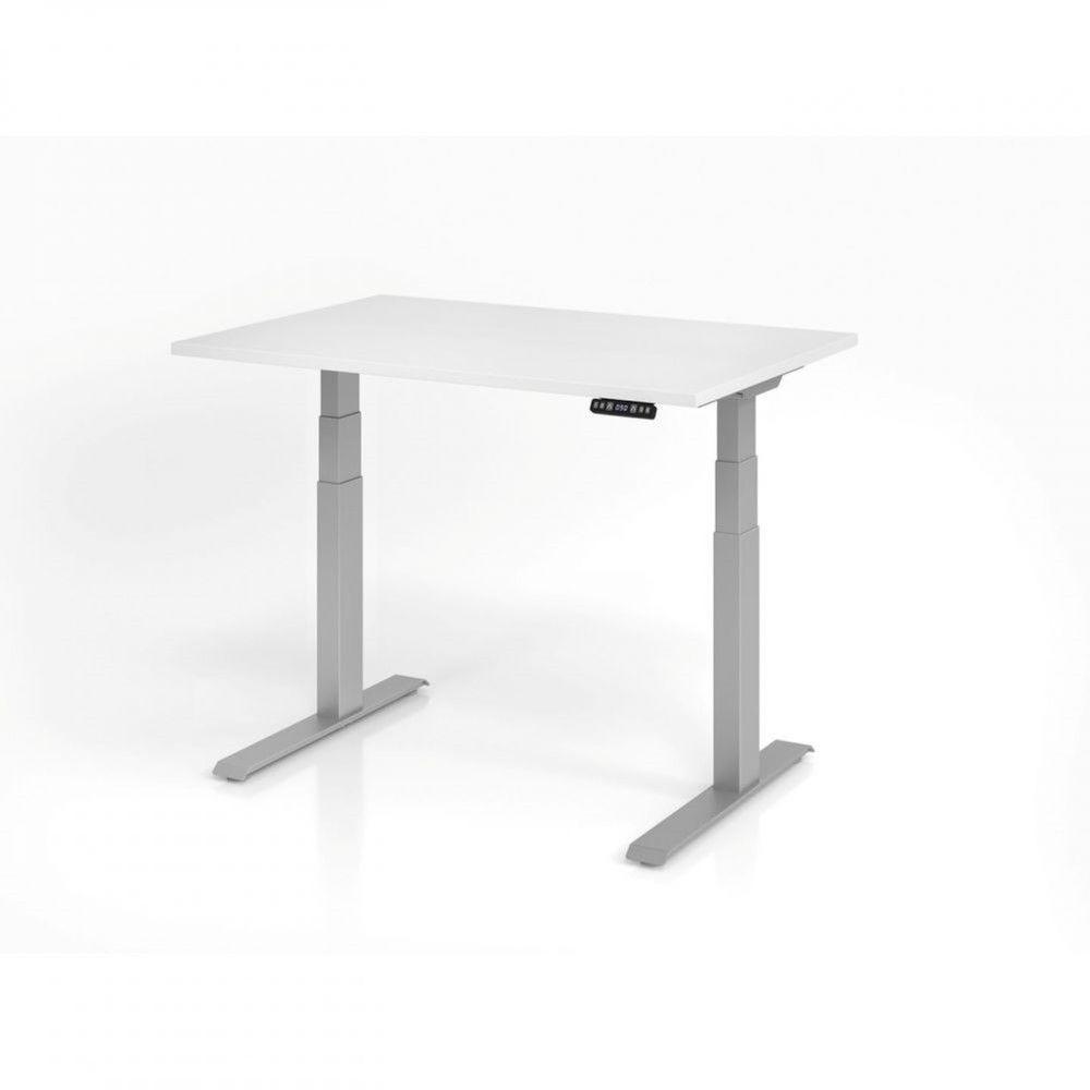 Bureau assis-debout contemporain Jorge / Blanc / Longueur 120 cm / Argenté