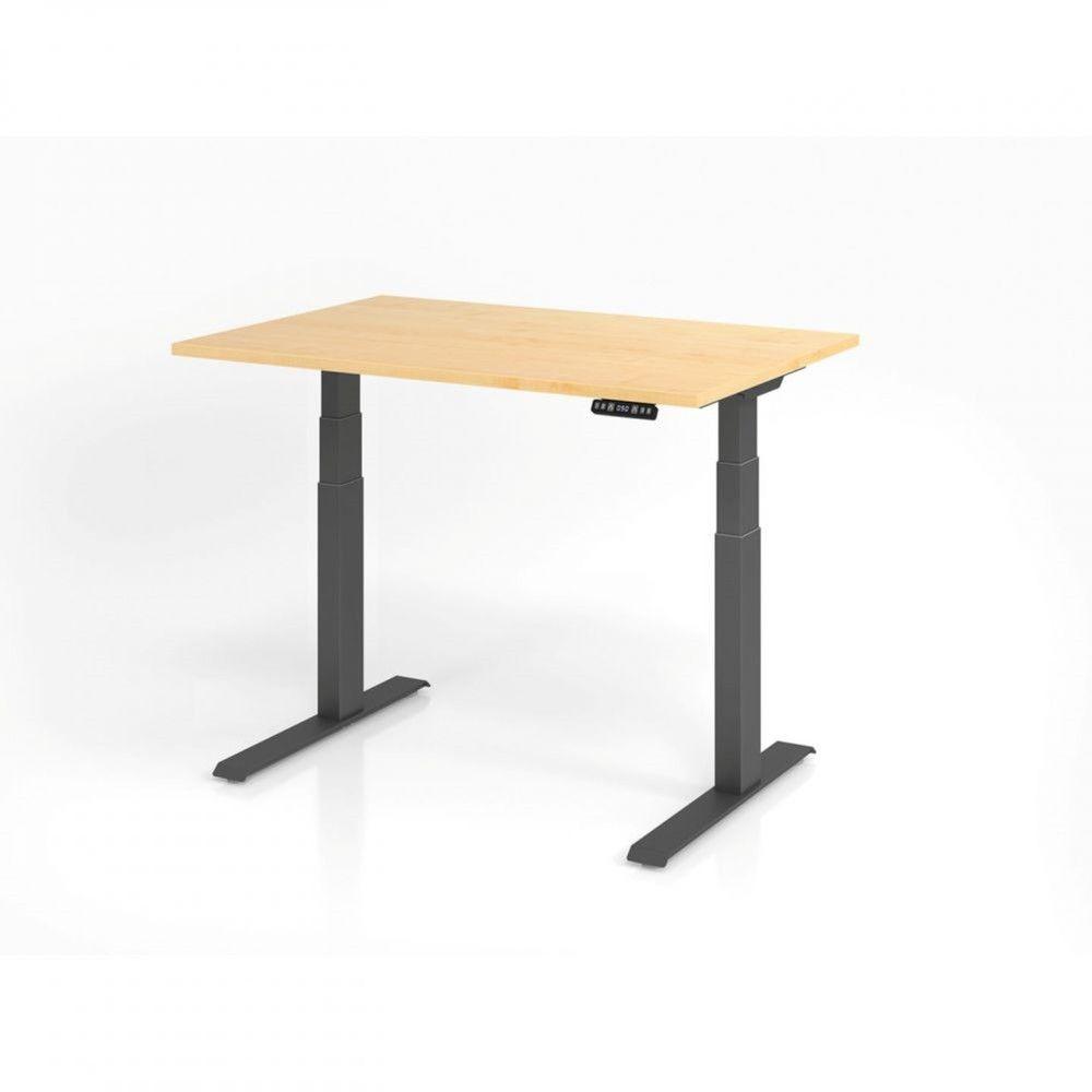 Bureau assis-debout contemporain Jorge / Erable / Longueur 120 cm / Graphite