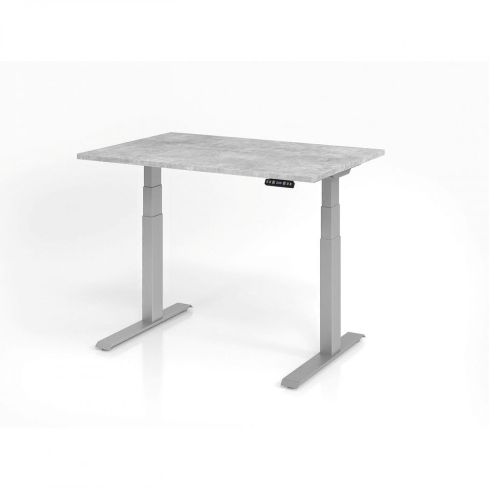 Bureau assis-debout contemporain Jorge / Béton / Longueur 120 cm / Argenté