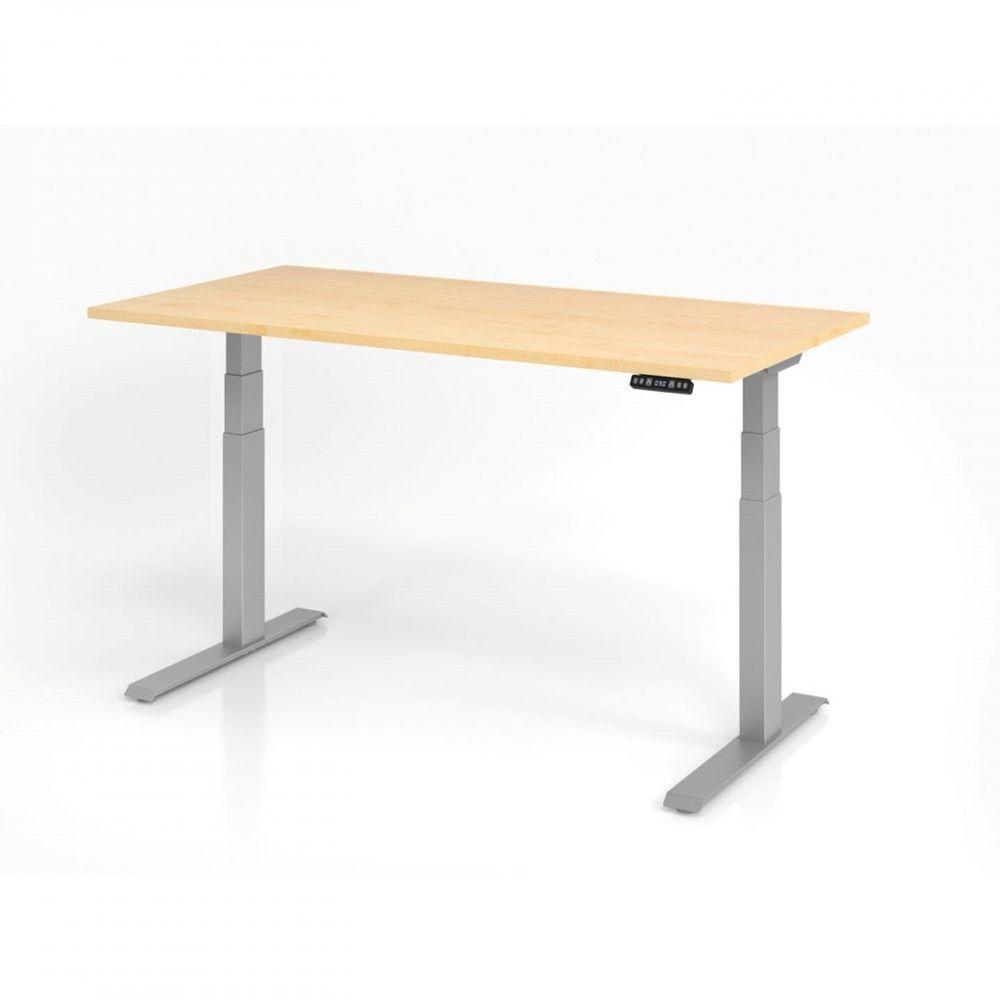 Bureau assis-debout contemporain Jorge / Erable / Longueur 160 cm / Argenté