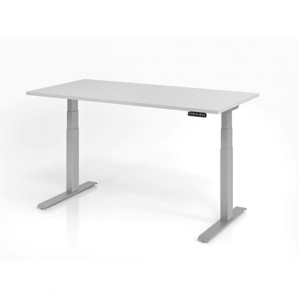 Bureau assis-debout contemporain Jorge / Gris / Longueur 160 cm / Argenté
