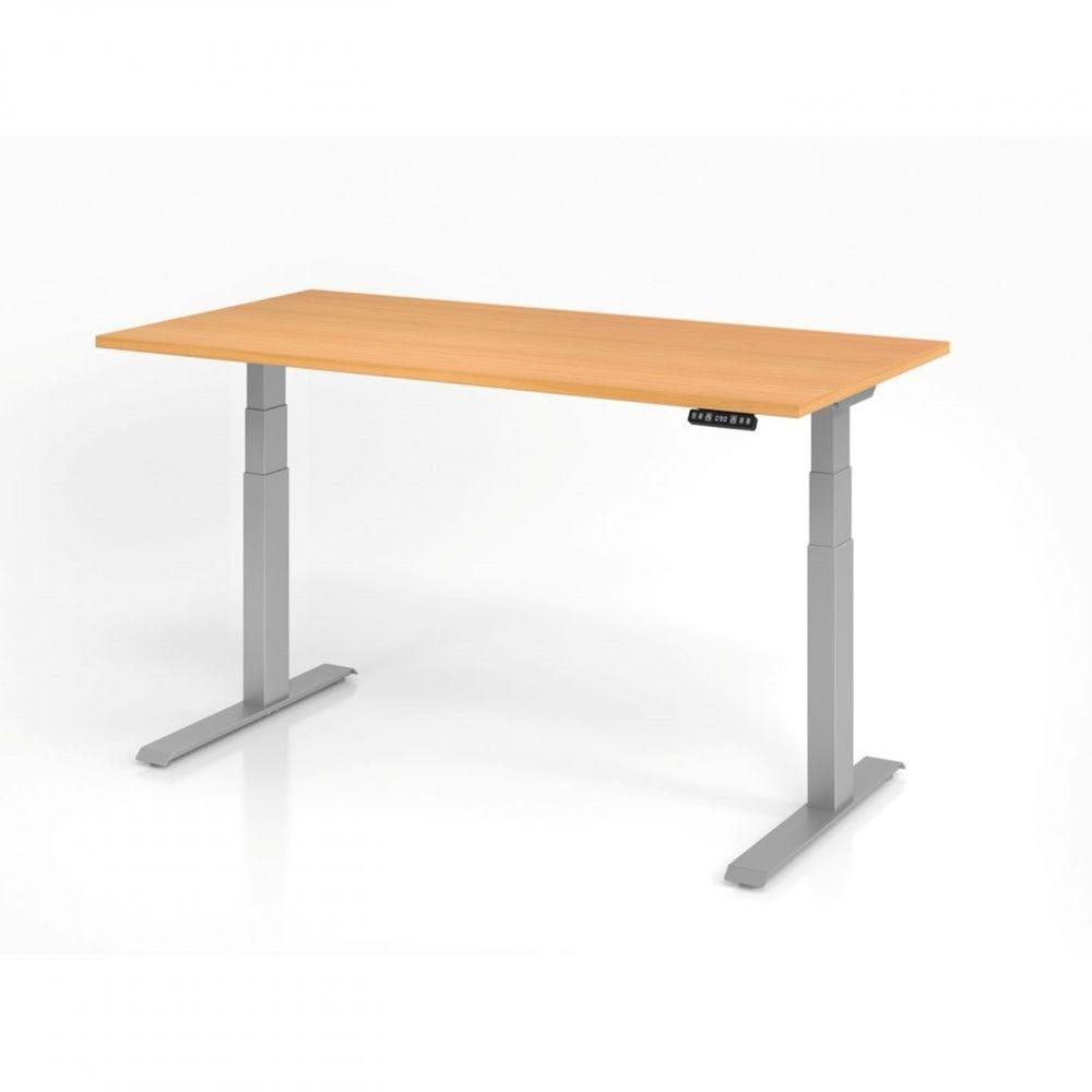 Bureau assis-debout contemporain Jorge / Hêtre / Longueur 160 cm / Argenté