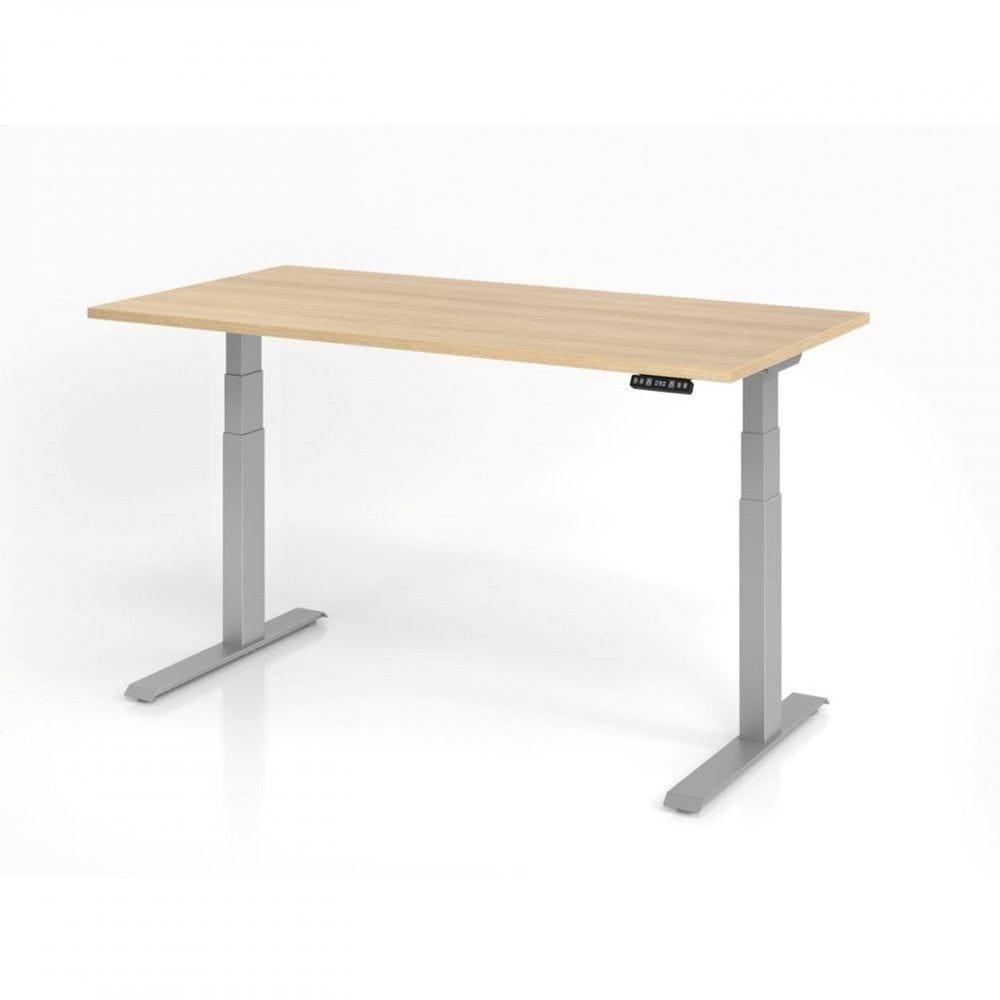 Bureau assis-debout contemporain Jorge / Chêne / Longueur 160 cm / Argenté