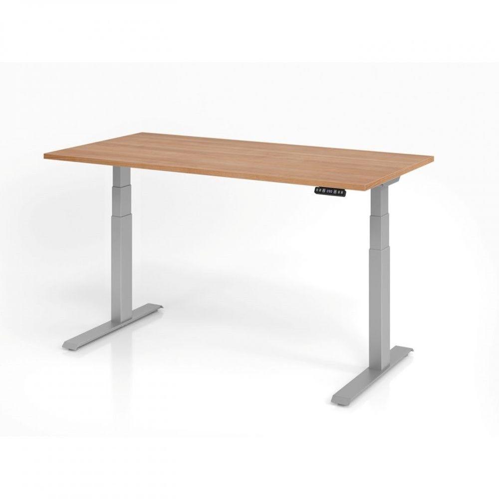 Bureau assis-debout contemporain Jorge / Noyer / Longueur 160 cm / Argenté